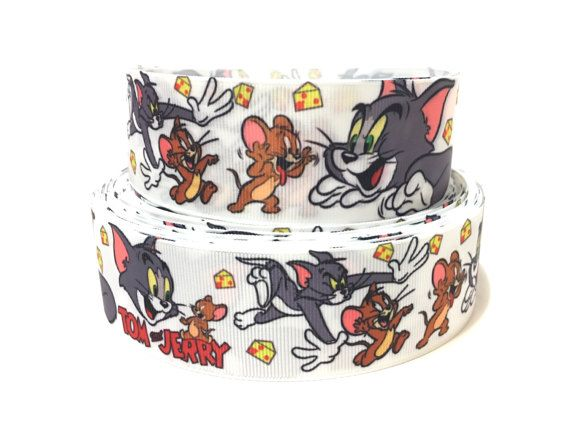 """1.5"""" Tom and Jerry Ribbon by the Yard, Tom and Jerry Grosgrain Ribbon Supplies, Cartoon Character Ribbon, Craft Supplies, Printed Ribbon"""