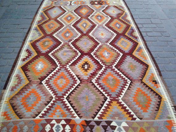 63' x 106' Handmade Fethiye Kilim, 70 years old Rug, Burgundry Orange Yellow Green Diamond Pattern, Natural Turkish Kilim, Vintage 1940s.