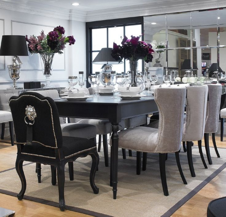Extending black dining table 8 chairs special offer for Black dining room furniture