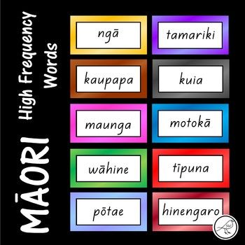500 high frequency Māori words. ♦ Written in order of frequency. ♦ 10 words per page. ♦ Grouped into sets of 50 - each set has a different coloured border. The font used is 'NZ Basic Script'. ** Please note that English translations are not included.