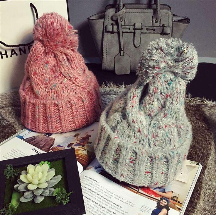 Corea mezcla gorro de lana gruesa cálido otoño e invierno sombrero femenino del otoño y el invierno de afluencia de hombres y mujeres de color esfera de punto(China (Mainland))