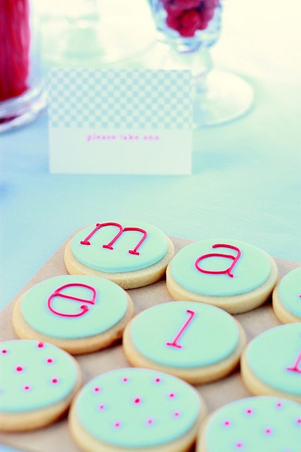 cookies with letter decoration