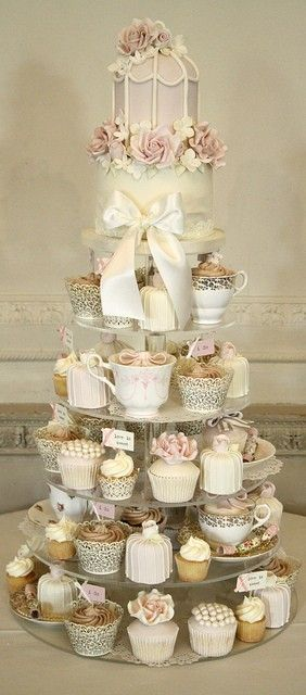 We are absolutely head over heels for this breathtaking cupcake display! #weddingideas, 72pcs-Elegant-Green-Wedding-Cupcake-Wrapper-Cupcake-Sleeve-Baking-Wrap-W004W   、