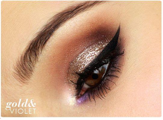 Alina Rose Makeup Blog: Makijaż: złoto i fiolet z kreską.