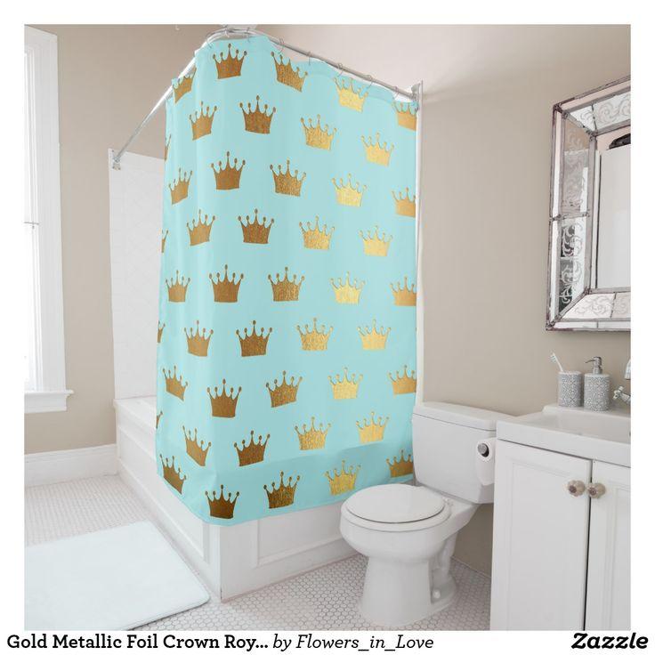 Gold Metallic Foil Crown Royal Teal Aqua Modern Shower Curtain