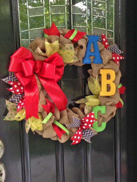 ABC Teacher's Burlap and Ribbon Wreath in Primary Colors - Red, Yellow, Blue, and Green - Kindergarten, Elementary School www.etsy.com/shop/simplyblessedgift