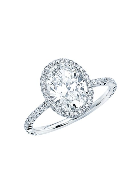 Oval-cut engagement ring with mirco-set border, 2.02 carats, price upon request, Martin Katz