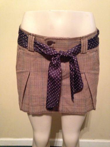 Juniors American Eagle Brown Blue Plaid Pleated Schoolgirl Skirt w/ Belt Size 6 $16.99 #juniors #americaneagle #schoolgirl #plaidskirt