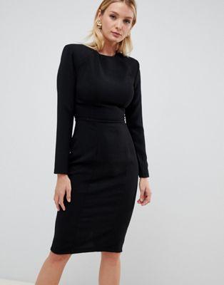 b4edf3c86809d DESIGN FULLER BUST shoulder pad midi dress with seams | wardrobe ...