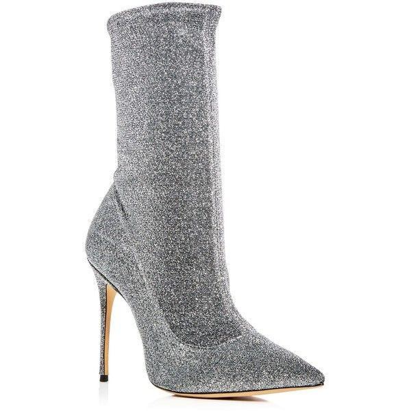 Schutz Women's Mislane Glitter Stretch High Heel Booties ($275) ❤ liked on Polyvore featuring shoes, boots, ankle booties, aco steel, steel boots, glitter boots, stretchy boots, stretch boots and stretch booties