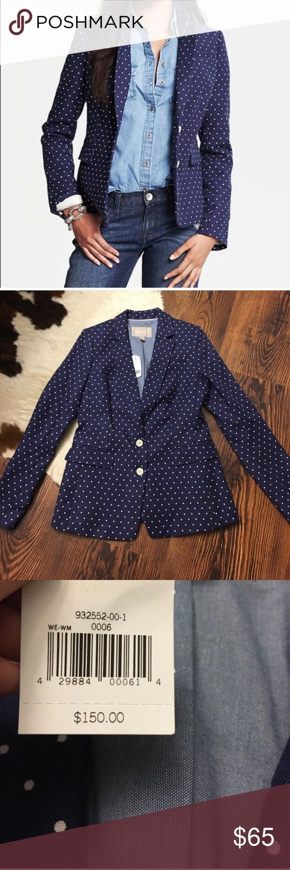 Banana Republic Polka Dot Navy Blazer Night Sky New with tags. This is an adorable blazer! Armpit to armpit: 18 inches. Shoulder to hem: 26 inches. Sleeves from shoulder seam: 24 inches. Banana Republic Jackets & Coats Blazers