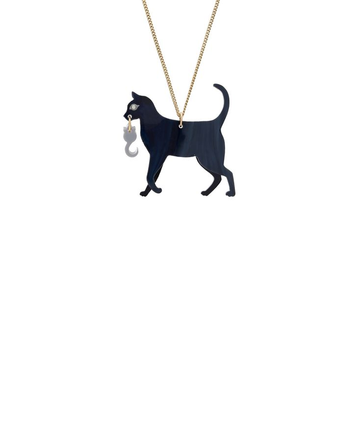 Cat and Mouse Necklace - Designed in partnership with Battersea Dogs & Cats Home, the Cat and Mouse Necklace is the purr-fect present for any cat lover! A playful feline silhouette is laser cut in pearlescent black acrylic and detailed with a sparkling Swarovski crystal eye and grey mouse charm. £3 from each sale will be donated to Battersea Dogs & Cats Home.