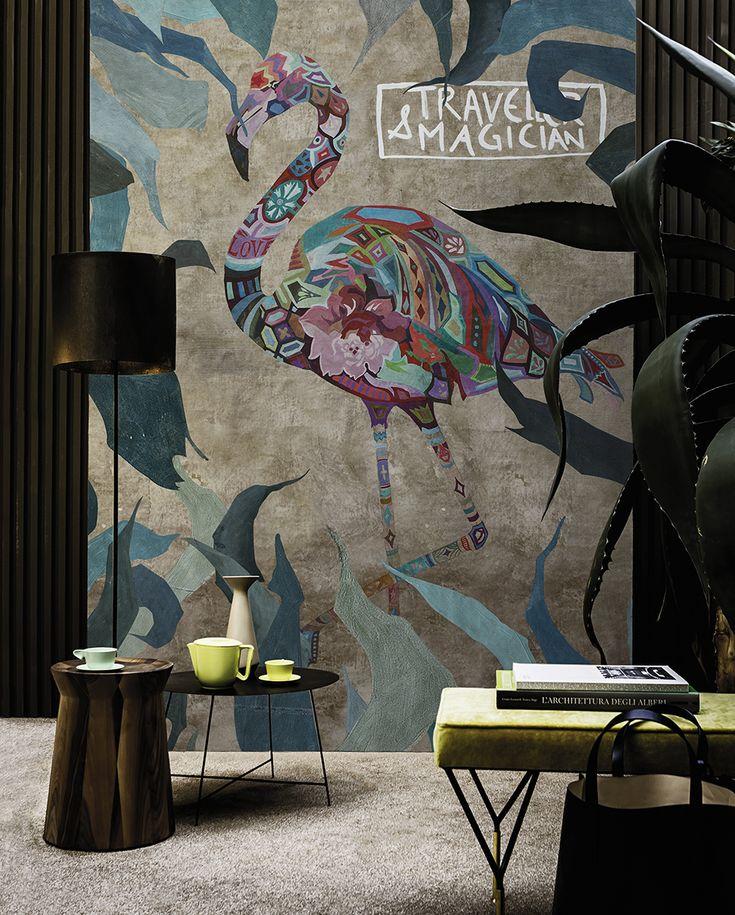 Pink wind www.wallanddeco.com #wallpaper, #wallcovering, #cartedaparati