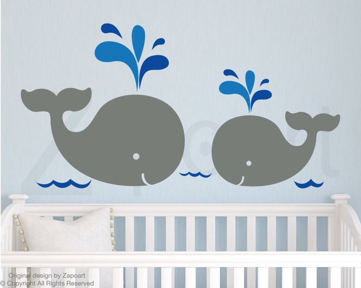 Children Wall Decal Mom and Baby Whales Vinyl decal by Zapoart, $34.00
