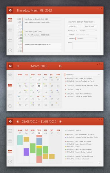 Nice calendar UI.