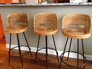 Vintage s Rattan Swivel Bar Stools