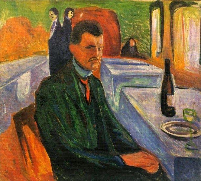 Breve ricordo di Munch con biografia.. dipinti.. e piccola analisi della sua arte  Autoritratto con bottiglia di vino 1906