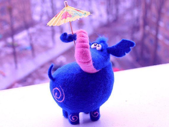 home decor Needle Felted Toy blue elephant Felt by TashaToys