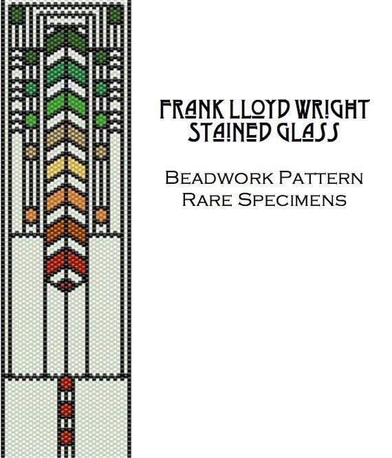 Frank Lloyd Wright Stained Glass Window Peyote Stitch Pattern - Cuff Bracelet - Bookmark