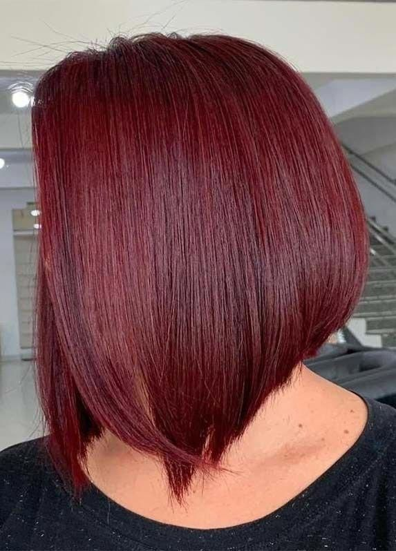 Explore The Amazing Trends Of Sleek Red Bob Haircuts And Styles To Show Off For Best Appearance And Cute P Long Bob Hairstyles Stacked Bob Haircut Red Bob Hair