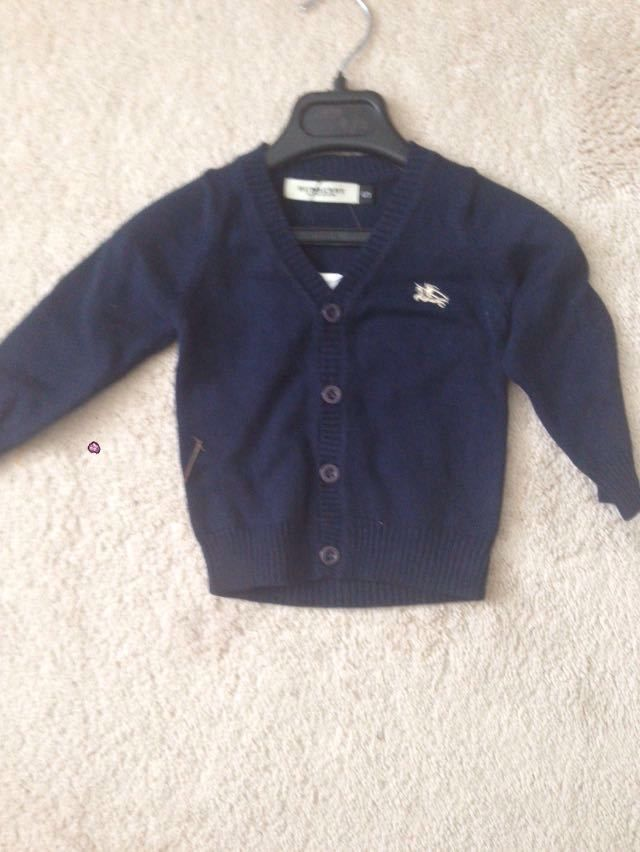 navy burberry cardigan infant size
