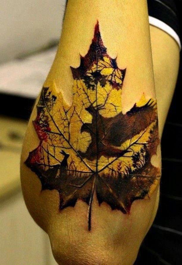 Laub Blatt 3D Unterarm Tattoo