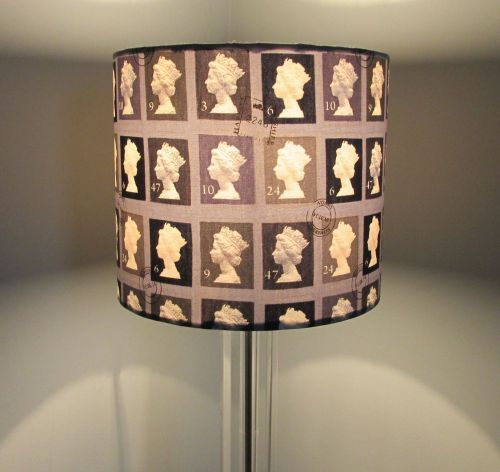 Handmade grey postage stamp design lampshade available in and diameter