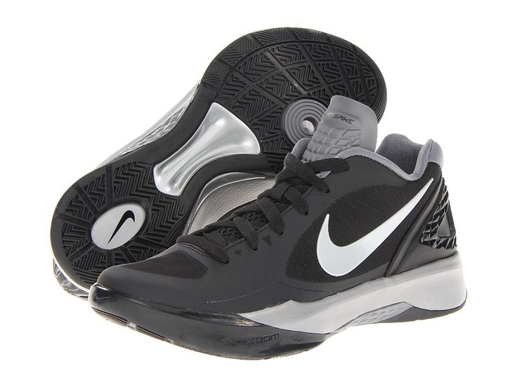Nike \u2013 Volley Zoom Hyperspike (Black/White/Metallic Silver) Women\u0027s Volleyball  Shoes