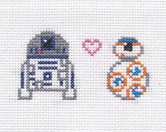 BB-8 Ball Droid and R2-D2 Star Wars Cross Stitch by StitchBucket