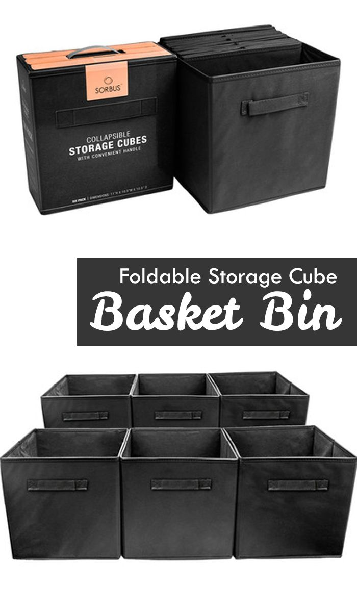 Perfect for organizing and cutting down on clutter, these Collapsible Storage Cubes add fun and functionality to your cube organizer! These fabric drawers easily side in and pull out of cube shelves thanks to their sewn in handles! Great for bedrooms, dorms, and playrooms!  | organizing ideas | organizing small spaces | organizing home #Ad