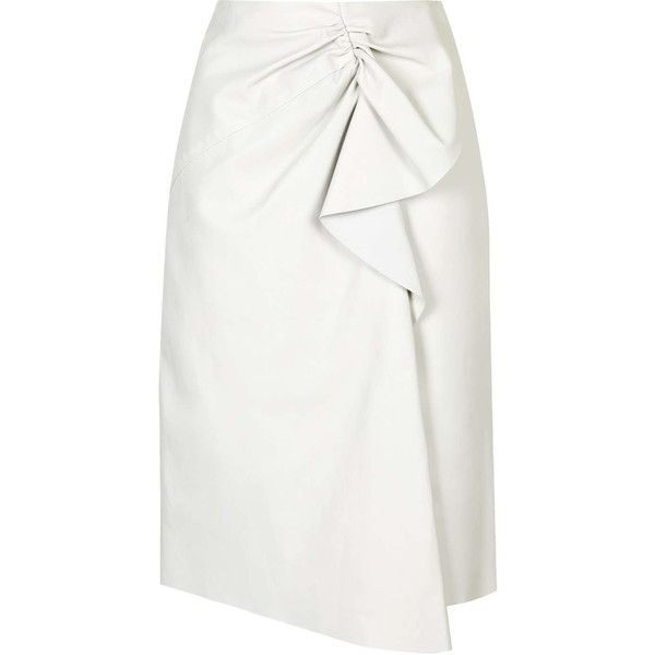 Symons Leather Skirt by Unique (1.540 BRL) ❤ liked on Polyvore featuring skirts, white, white skirt, gathered skirt, mid-calf skirt, leather ruffle skirt and leather skirt