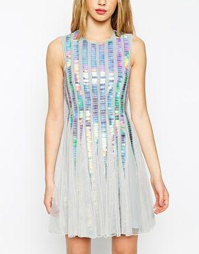 Vergrößern ASOS – Paillettenkleid mit holografischen Streifen