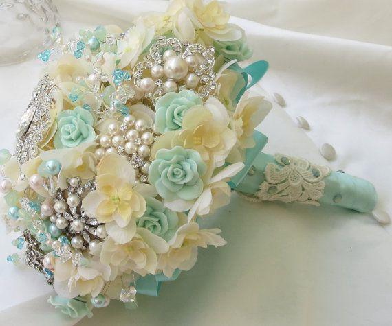 tiffany blue wedding bouquets | Tiffany Blue Bridal Brooch Bouquet, Ivory weding bouquet, Brooch ...