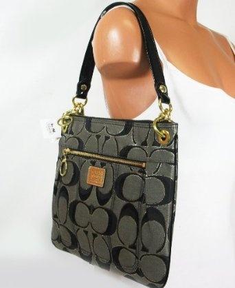 Coach Signature Poppy Hippie Crossbody Messenger Bag 18135 Black Gold 47
