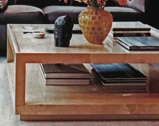 Mary Forssberg custom linen coffee table. 48 - 48x48 Coffee Table IDI Design