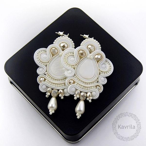 Lexito wedding soutache - kolczyki ślubne sutasz KAVRILA #sutasz #kolczyki #ślubne #rękodzieło #kavrila #soutache #handmade #earrings #wedding #white #ivory