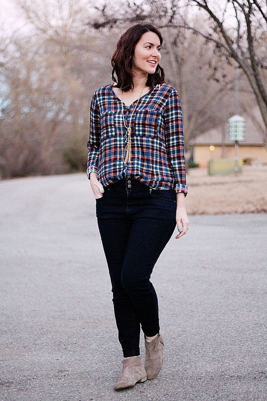 Style: plaid blouse with jeans