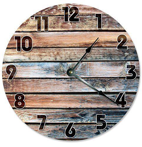 "OLD BARN WOOD Clock Large 10.5"" Wall Clock Decorative Round Circle Clock Home Decor Novelty Clock PRINTED WOOD IMAGE  #10.5 #Barn #circle #Clock #Décor #Decorative #Home #Image #Large #Novelty #Printed #Round #RusticWallClock #Wall #Wood The Rustic Clock"