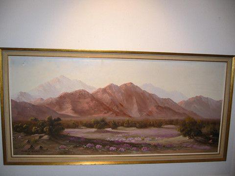 Flossie Marten Desert Landscape Oil on Canvas Original Frame – Designer Unique Finds