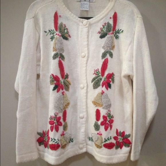 Beaded Christmas Cardigan It's not too late! I will ship today!   Beautiful soft winter holiday Christmas white cardigan sweater.  Long sleeve with white yarn-knit buttons down front.  Christmas pretty designs down the front sides, in embroidery and elaborate beadwork.    Red and green holly and pointsettia flowers with gold & silver bells.  Lovely details.   Discounted for some light marks, see pic.  Enjoy your holiday festivities! Vintage Sweaters Cardigans