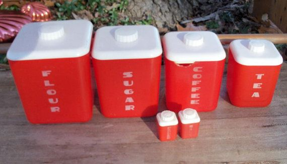 Red Canister Set Midcentury Find Update by AntiquesandVaria, $38.50