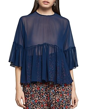BCBGENERATION BCBGENERATION SHEER RUFFLE TOP. #bcbgeneration #cloth #