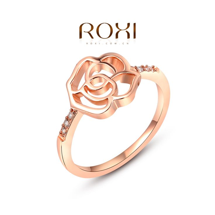 ROXI New Fashion Jewelry Womens Rose Gold Plated Flower Shape Crystal Zirconia Ring Womens Party Wedding Finger Rings Size 6 7 8