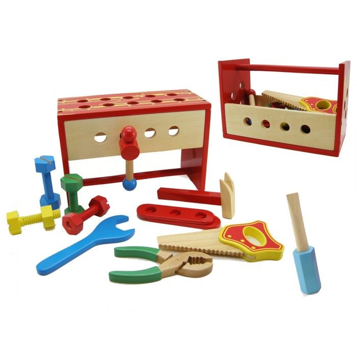 Wooden Tool Bench / Box - $30 18mths + Includes all items pictured, can be used as a tool box to carry and then flips over to a small tool bench. A fantastic item to help the kids with their fine motor skills from a young age