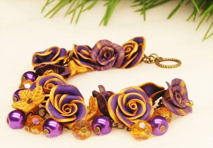 #madeinfacebook #lemaddinecreano #maddine #handmade #handmadeinitaly #handcrafted #instagood #picoftheday #instahandmade #instagram #instapic #instacool #photooftheday #instagood #jewel #jewels #jewelry #bijoux #handmadejewelry #bracelet #flower #flowers #rose #roses #fimo #polymerclay #pearls #crystals #purple #gold #bebcreation @BBCreazioni