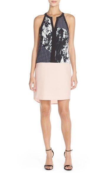 Adelyn Rae Mixed Media Sleeveless Sheath Dress available at #Nordstrom