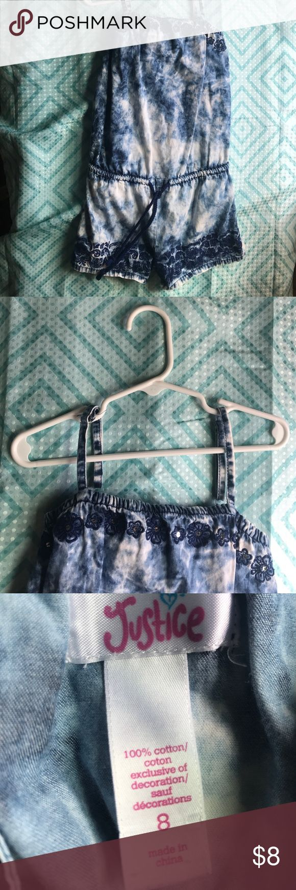 Tye dye blue and white jumper Justice brand, size 7. Spaghetti strap, 100% cotton blue and white tye dye(looks like jean) jumper. Floral design on top of tank and bottom of shorts. Blue drawstring around waist. Bundle for savings or make an offer! BoGo and discounts on sets💙 Justice One Pieces Bodysuits