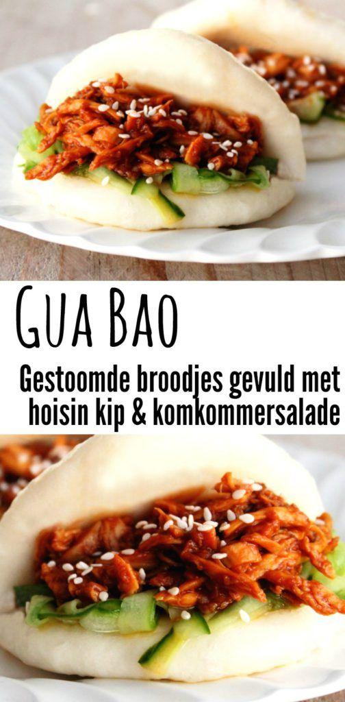 Gua Bao - Gestoomde broodjes gevuld met hoisin kip en komkommersalade