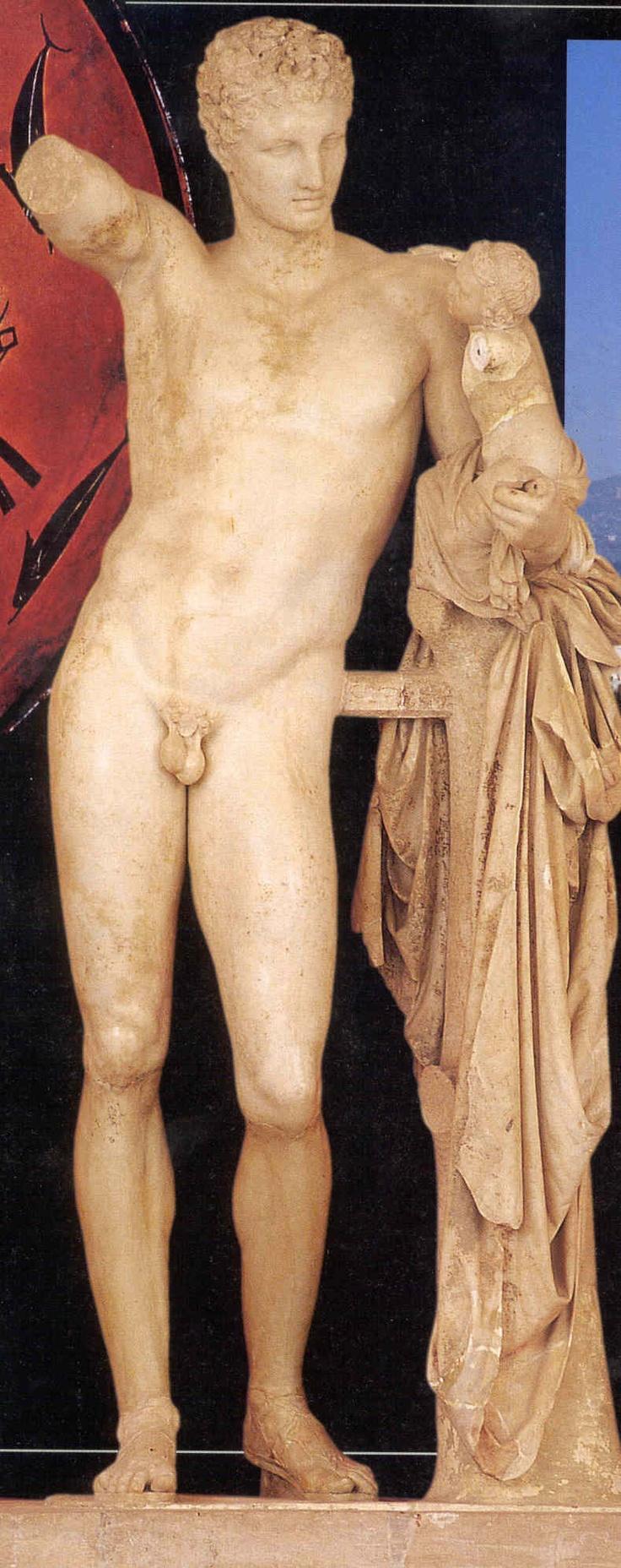 Hermes con el niño Dionisos (h. 330-320 a. C). Museo de Olimpia. Época helenística. Arte griego.