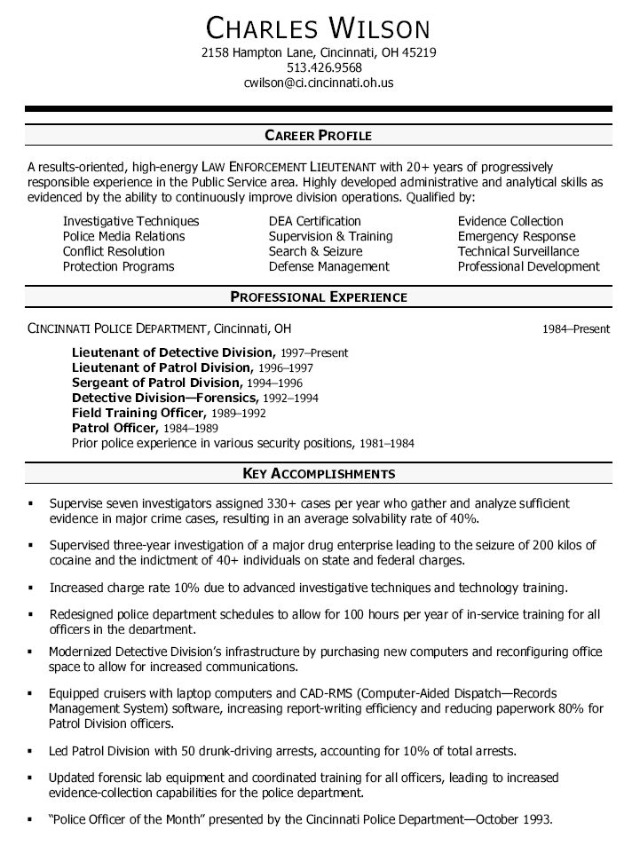 sample detective resumes